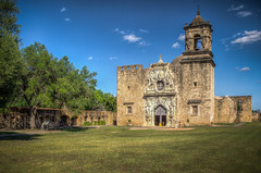 Mission San Jose Church (donnieking1811) Tags: texas sanantonio missionsanjosechurch church mission building architecture exterior facade tower crosses bell outdoors trees sky clouds blue hdr canon 60d lightroom photomatixpro