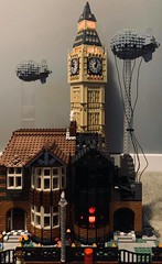 Blitzed street with Big Ben in background (rh1985moc) Tags: blitz ww2 london lego barrage balloon houses