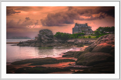 home by the sea (Fr@ηk ) Tags: bretagne france coast frnk adult mrtungsten62 edit art beauty impressionism paint sketch drawing frame white colors travel holiday album cd cover trégastelplage brittany canon6d leica nikon summer sea coastline rocks ocean mood atmosphere fairytale cinematic sunset landscape sky water nature beach rock painting cloud evening sunrise castle bay outdoor shoreline naturallandscape mountain outdoors shore background land seashore small clouds weather front scenery seascape stockphotography red building beautiful photography rocky wave dawn dji