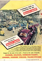 1953 Rootes Group Humber Hillman Sunbeam-Talbot Commer Karrier Vulcan Tilling-Stevens Aussie Original Magazine Advertisement (Darren Marlow) Tags: 1 3 5 9 19 53 1953 r rootes g group h hillman humber s sunbeam t talbot k karrier c commer vulcan tilling stevens car cool collectible collectors classic a automobile vehicle e english england b british britain 50s