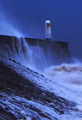 Blue (Wildlife & Nature Photography) Tags: storm stormciara waves lighthouse wales porthcawl cymru uk le longexposure blue nikon sea seascape rocks seadefences weather environment