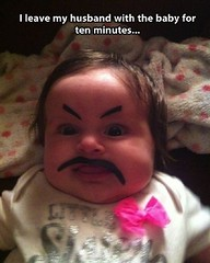 Leaves husband with baby for 10 minutes only (gagbee18) Tags: aww funny funnybabypics funnymemes funnypics husband husbandwifejokes wife wtf
