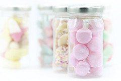 ❤ Sweets for my sweet ❤ (Sue Armsby) Tags: sweetsformysweet smileonsaturday candy pastelshades sugar ef100mmf28lmacroisusm sweets pink chocolate jarsbottles glass