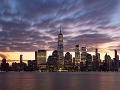 Before Sunrise (Ralph Cherubin) Tags: olympus panasonic ep5 12mm32mm february 2020 newyorkcity ny oneworldtradecenter manhattan hudsonriver sunrise clouds longexposure skyline skyscraper water