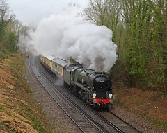 Defying Dennis... (Treflyn) Tags: undeterred defying defy winter storm bulleid merchant navy class 462 pacific 35028 clan line main steam earley reading uk railtours saint st valentines day pullman dining excursion london victoria oxford dennis