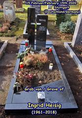 Grab von Ingrid Heisig (1961-2018), 15.Februar 2020, Stuttgart (Deutschland) / Grave of Ingrid Heisig (1961-2018), February,15th,2020, Stuttgart (Germany) (helmut_heisig) Tags: heisig ingridheisig helmutheisig friedhof cemetery deutschland germany stuttgart gravesite grave grab