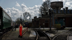 The girl and the trains (tentative (1/n) (philippevandewauwer) Tags: pauldelvaux sony a99ii a7r dxo laea4 colorefexpro4 nikcollection 2shots cfv3v