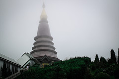 foggy Thailand (johanneshermans) Tags: thailand fog clouds cloudy chiangmai mountains temple temples green nature architecture