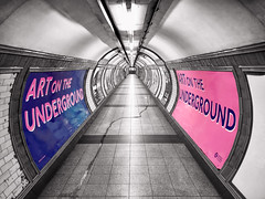 Leave me a place underground (sagesolar) Tags: passage passageway londonunderground london pink blue gates mobilephotography tunnel underground corridor entrance curved selective blackandwhite selectivecolour selectivecolor monochrome abandoned bnwphotography urbanphotography