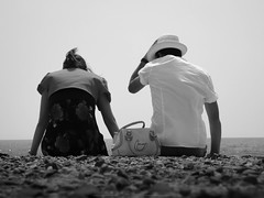 Close to sea (luket photos) Tags: sea bw blackwhite rock hat white bag sky sun romantic