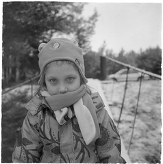 Scan-200215-0005 (Oleg Green (lost)) Tags: autumn november country kid snow portrait daughter fomapan200 seagull4a103 tlr 120film blackwhite