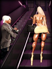 escalation of commitment (◣◥ SID⚥STYLE ◣◥) Tags: escalator shopping whore high heels trophy wife sugar daddy mall babe sl second life 3d avatar