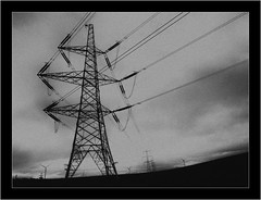 Current Weather (StewartBlack) Tags: electricitypylons windturbines blackwhite monochrome rural sky winter