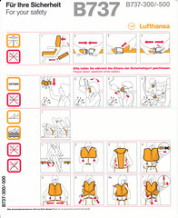 Lufthansa B-737-300/-500 (2011-09) (Dmitry's Safety Cards for Trade) Tags: b737 boeing b737500 b737300 germany lufthansa safetycards