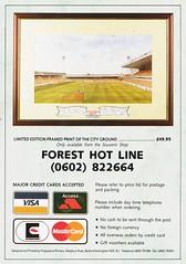 Nottingham Forest - Souvenir Shop Catalogue - 1991/92 - Back Cover Page (The Sky Strikers) Tags: nottingham forest official sports souvenir shop catalogue the city ground 1991 1992