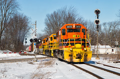 Quincyness (Carlos Ferran) Tags: indiana ohio railway train trains emd sd402 locomotive rails quincy oh io sunny snow winter lima south local signal signals standard cab