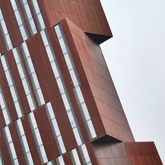 Simple Abstract 59 (No Great Hurry) Tags: simpleabstract tower windows architectureontheslant robinmauricebarr feildencleggbradley leedsbeckettuniversity corten rusty architecture diagonal constructuralart nogreathurry leeds broadcastingtower thenakedabstract