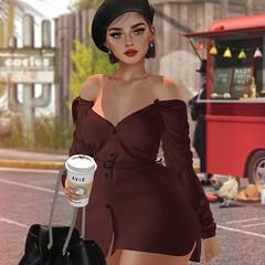 Bad Liar. (Avia.DeHeart) Tags: tetra hat tram c88 blog blogging blogger genus maitreya hive coffee dress velvet sun drink model pose purse bag lipstick short hair