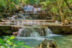 Huay Maekhamin waterfall in Kanchanaburi province, Thailand (UweBKK (α 77 on )) Tags: huay maekhamin waterfall water flow stream reflection tree forest jungle step tier kanchanaburi province thailand southeast asia sony alpha 77 slt dslr