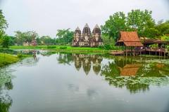 Lake with reflections in Muang Boran (Ancient Siam) in Samut Phrakan near Bangkok, Thailand (UweBKK (α 77 on )) Tags: muang boran ancient city siam park garden education recreation culture water reflection lake samut phrakan province bangkok thailand southeast asia sony alpha 77 slt dslr