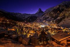 Zermatt Winter Night - Switzerland (prophotocorner) Tags: mountain zermatt alps switzerland peak matterhorn