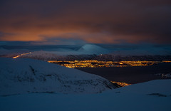 Rødtinden (Ash and Debris) Tags: view illumination rodtinden landscape winter nature top mountains nightlight scenic rodtind evening environment clouds norway snow light cold night elevated village city twillight lights sky aerialview nightlights europe citylights mountain