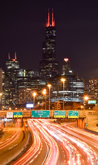 Sweet Home Chicago (JayB Photos) Tags: historic expressway highway longexposure crisp cold night chicagoskyline skyscraper skyline exposure chicagoil chicago