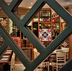 square within square within square (SM Tham) Tags: asia southeastasia malaysia kualalumpur klcc suriaklcc shoppingmall interiordesign korean restaurant lattice square patterns dining tables chairs