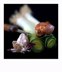 """Attention aux doigts . . . maladroits s'abstenir  HMM """"vegetables"""" (nickylechatreux) Tags: legumes macro macromonday ail échalottes poreaux hmm couleurs couteau nourriture vegetaux vegetables"""