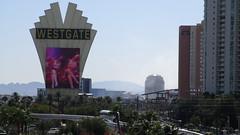 Nevada - Las Vegas: Monorail station WESTGATE @ Paradise Road - view to downtown Vegas
