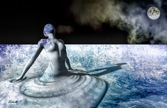 Birth (Ladmilla) Tags: birth woman water sea waves foam blue white sky cloud moon black surrealism surreal art digitalart gallery artgallery photography textured texturized literature poetry poem poet landscape sl secondlife
