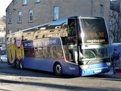 Stagecoach Van Hool TDX27 Astromega SV62BCZ 50248, in Megabus livery, operating terminating Citylink service 900 at Elder Street prior to entering Edinburgh Bus Station on 8 February 2020. (Robin Dickson 1) Tags: stagecoach megabus vanhooltdx27astromega citylink sv62bcz bluebird stagecoachwestscotland