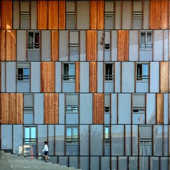 A Matter of Rhythm (Paul Brouns) Tags: facade façade facades windows architecture architectuur architektur architect confluence confluences lyon france frankrijk wood plexiglass stairs woman walking square squareformat abstract abstractarchitecture abstraction abstrakt summer summertime paulbrouns paulbrounscom
