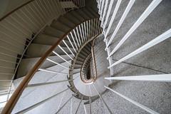 Staircase (Elbmaedchen) Tags: staircase stairs stairwell treppenauge treppenhaus stufen escaliers escaleras steps interior innenansicht upunddownstairs architektur architecture roundandround spirale spiral curves lines geländer metall drehwurm 50erjahre