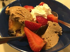 IMG_5606 (tombrewster6154) Tags: early july 2019 mmxix tuesday night evening weston massachusetts boston metropolitan area independence day holiday ice cream coffee flavor brown sliced strawberries cake blueberries two spoons digital camera photograph picture summer portrait tasty food blue plastic bowl kitchen home house