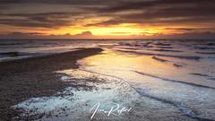 Shingle Street Predawn (Aron Radford Photography) Tags: yellow shingle street suffolk landscap sea spit surf wave water east anglia dawn refections moody pebbles