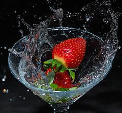 Strawberry Splash (Bernie Condon) Tags: canon canonr eos studio flash strobe strawberry berry red splash glass water black