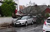 Tree resting on cars in Gravesend thanks to Storm Dennis on 16-2-20. Copyright Ian Cuthbertson