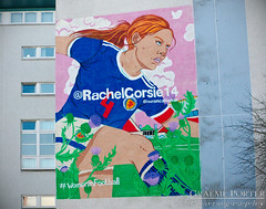 Women In Football - IMG_4644 - Edited (406highlander) Tags: canonpowershotg1xmkii powershotg1xmkii powershot g1x aberdeen scotland mural art westnorthstreet mealmarket studentroost womeninfootball football woman rachelcorsie wall building thistle painting lauracallaghan soccer futbol sport fusball voetbal scottish paint color colour colorful colourful apartment flats city urban canon