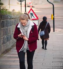 Coming and Going - IMG_4698 - Edited (406highlander) Tags: canonpowershotg1xmkii powershotg1xmkii powershot g1x aberdeen scotland littlejohnstreet hill street road pavement sidewalk people woman women phone candid westnorthstreet lady ladies blonde