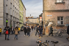 I'm Happy Again (Cat Girl 007) Tags: ancient architecture building city cityscape crowded culture europe graffiti historicaldistrict inner kazimierz krakow landmark life old past placnowy poland street urban