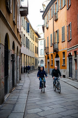 (Hugo Laporte) Tags: leica m240 m digital vertical street urban bicycle bike buildings colors europe italy italia milano milan travel stones alley windows weekend friendship conversation commute
