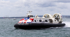 Island Flyer (Mr Mo-Fo) Tags: hovercraft islandflyer southsea unionjack coastguardclipper sea ships water clouds solent iow isleofwight harbour desmorris canoneos1dx