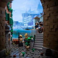 Scouting the Harbor (roΙΙi) Tags: ninekingdoms roguebricks lego afol moc pirates harbor forcedperspective castle
