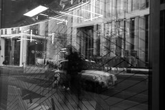 Spaces (notaflag) Tags: fragmented taxi manchester streetphotography abstract reflections blackandwhite