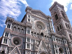 Facade of Florence Cathedral Santa Maria del Fiore (pisces2386) Tags: perspective renaissance sculpture santa monument michelangelo italy marble maria medieval cityscape sky tiles tower travel unique texture tall stonework steeple street surface symmetry inventor inlay blue brunelleschi brunnaleski cathedral bell art architect ancient architectura architectural architecture construction giotto florence grand harmony huge fiore famous del decorated detail dome facade