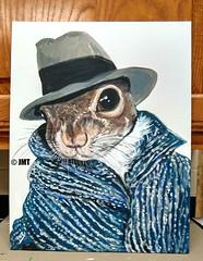 Agent Squirrel: Operation Gold Acorn (Acrylic Artist98) Tags: squirrel graysquirrel squirrelart comicalsquirrel whimsicalsquirrel whimsicalart figurativeart woodlandanimal