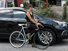 Cyclist (Multielvi) Tags: philadelphia pennsylvania pa philly northern linerties girl woman bicycle bike hipster candid