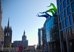 Alien Invasion! - IMG_4670 - Edited (406highlander) Tags: canonpowershotg1xmkii powershotg1xmkii powershot g1x aberdeen scotland tentacle inflatable art colour marischalsquare broadstreet city urban building glass modern spectra festivaloflight canon