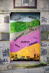 Scots Words - IMG_4696 - Edited (406highlander) Tags: canonpowershotg1xmkii powershotg1xmkii powershot g1x aberdeen scotland littlejohnstreet door mural art scots dialect claik spikin bletherin fitlike naesaebad newsin banter greetin lachin color colour colourful colorful street pavement sidewalk window wall brickwork step farhivyebin hill canon